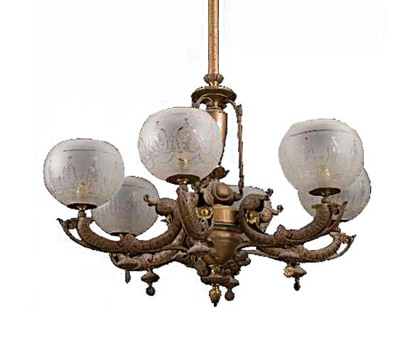 Previous / Next image. Six-Arm Decorative Rococo Gas Chandelier - Lighting - Antique Room